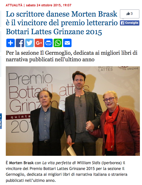 Bottari Lattes prize ceremony. Morten Brask with writer Javier Marias and Caterina Botari Lattes.